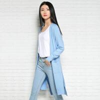 2018春季新款女士中长款纯羊绒衫宽松舒适针织开衫长袖无扣毛衣