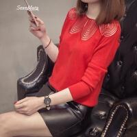 短款小毛衣女士蕾丝低圆领针织打底衫薄款春装2018新款韩版百搭潮 红色 S