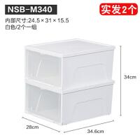 日本爱丽思透明塑料鞋盒抽屉式鞋子收纳盒组合装防尘防潮加厚翻盖
