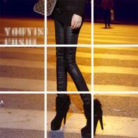 0323173923769欧洲站冬季新款时尚百搭瘦腿皮质拼接银灰色牛仔打底裤女 厚
