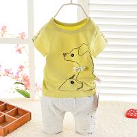 男女宝宝儿童短袖短裤套装 夏季卡通袋鼠运动时尚外出2件套