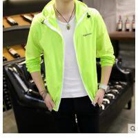 男士连帽外套纯色 青少年防晒衣新款韩 版修身薄款夹克男装衣服