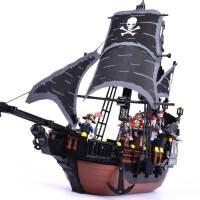 黑珍珠号模型海盗船积木儿童6益智力拼装8玩具10岁男孩子