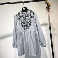 女装秋季欧美风复古刺绣修身连衣裙长袖气质立领打底裙