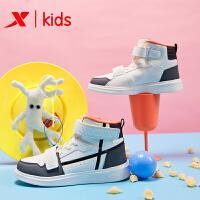 特步童鞋 2019年秋冬新款儿童高帮板鞋加绒运动鞋男女中大童棉鞋681415379138
