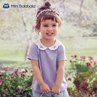 迷你巴拉巴拉女童短袖T恤2021夏装天丝莫代尔刺绣娃娃领短袖T