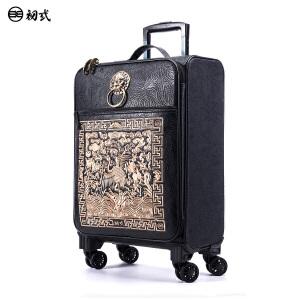 【支持礼品卡支付】初�q潮牌中国风复古万向轮仙鹤刺绣20寸拉链拉杆登机行李箱
