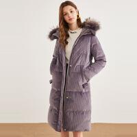 秋水伊人羽绒服2018冬装新款女装纯色连帽貉子毛领白鸭绒外套女