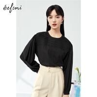 伊芙丽气质设计感泡泡袖黑色圆领上衣女2021春季韩版套头衬衣