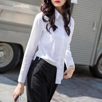 职业女士衬衫白衬衣欧美纯白色宽松打底V领长袖女装 白色