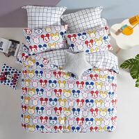 LOVO家纺 迪士尼 全棉四件套儿童学生床单被套可爱米奇纯棉套件 表情包