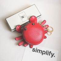 挂件小包包女2017夏季韩版新款小螃蟹手拿零钱包卡通硬币包钥匙包 红色 质量保证