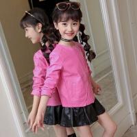 女童外套皮衣加绒加厚季儿童休闲韩版夹克中大童潮童装时尚上衣 玫红色 款加绒