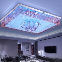 客厅灯 水晶灯 长方形客厅灯长方形LED水晶灯吸顶灯饰现代简约卧室灯大气家用遥控灯具+