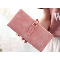 女士长款钱包款约小清新韩版潮搭扣学生薄款个性钱夹 粉红色 长款