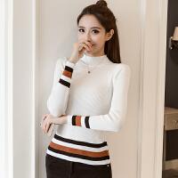 针织衫 女士条纹撞色长袖针织衫2020年秋冬季新款时尚潮流女装修身洋气女装打底衫