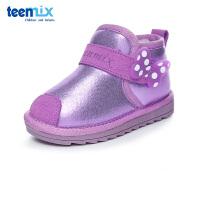 【限时抢:65元】天美意童鞋女童靴子秋冬新款小童加绒中童休闲运动鞋DX0287