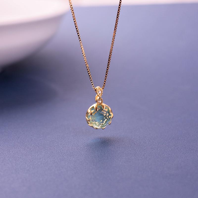 925纯银18k金项链女短款锁骨链简约气质天蓝色水晶吊坠配饰潮