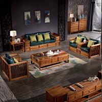 乌金木实木沙发客厅整装新中式家具套装123沙发现代轻奢