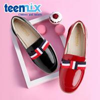 天美意(TEENMIX)童鞋女童鞋时尚公主鞋儿童彩色织带单鞋DX0267