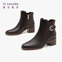 莱尔斯丹 秋冬商场同款时尚简约圆头搭扣粗跟短靴女靴LS AT48902